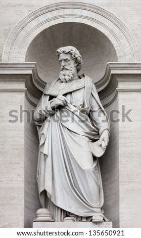 Neoclassic Marble Statue in its Niche - stock photo