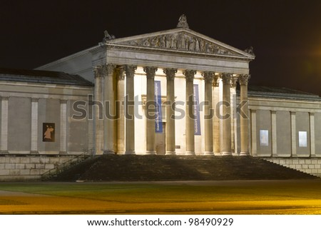 "Neoclassical building for the ""Staatliche Antikensammlung"" collection in Munich, Germany, at night"