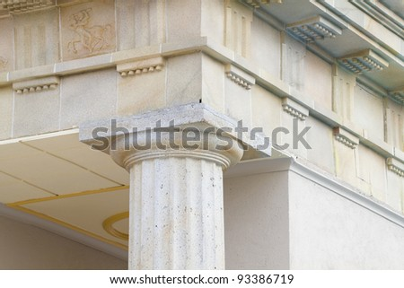 neoclassical ceiling and columns - stock photo