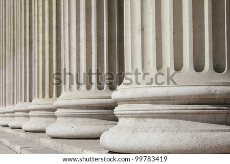 Neoclassical columns of Museum of Fine Arts, Budapest - business concept - stock photo