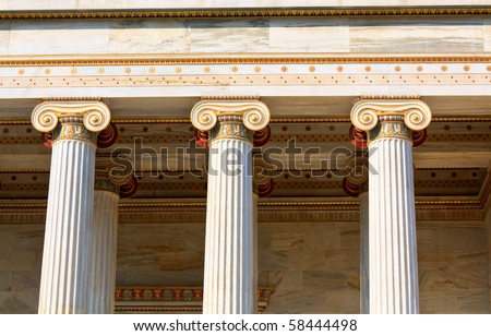 Neoclassical ionic columns in Neoclassical Academy of Arts in Athens - stock photo