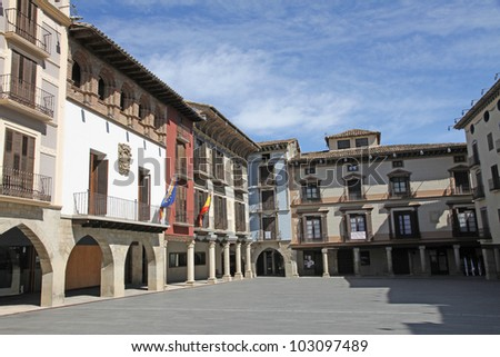Neoclassical-Style Mural Paintings Square, Graus, Huesca Spain
