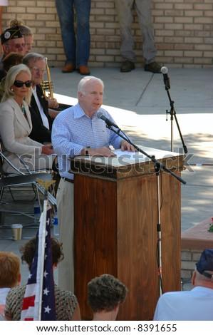 NEOLA, IA - SEPTEMBER 3: Presidential Candidate John McCain speaks at Labor Day dedication of Veterans memorial September 3, 2007 in Neola, IA - stock photo