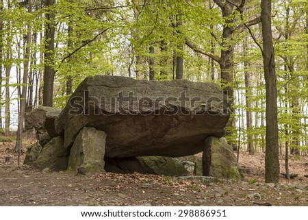 Neolithic passage grave, Megalithic stones in Osnabrueck-Haste, Osnabrueck country, Germany, Europe - stock photo