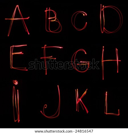 Neon ABC on the black background - stock photo