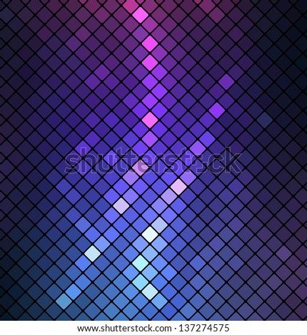 Neon abstract mosaic design on dark background - stock photo