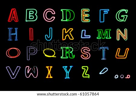 Neon Alphabet letters. Set 2 - stock photo