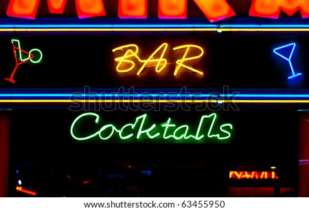 Neon bar cocktail sign - stock photo