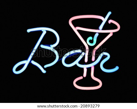 Neon bar martini cocktail sign on black background - stock photo