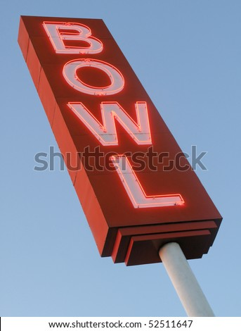 Neon Bowling Alley sign. - stock photo