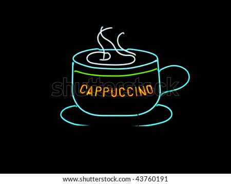 Neon cappuccino sign found in the window of cafes and coffee shop - stock photo