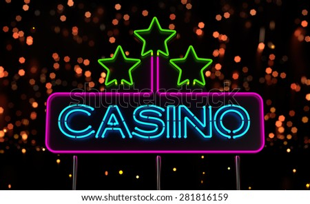 Neon Casino Sign. 3D render - stock photo