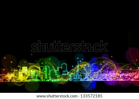 neon city colorful  light effect design - stock photo