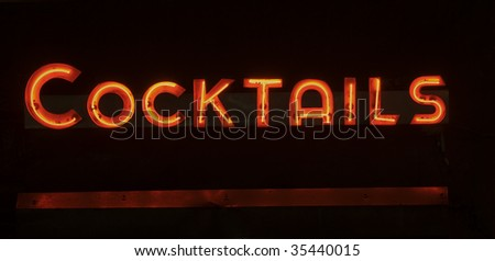 Neon Cocktails Sign - stock photo