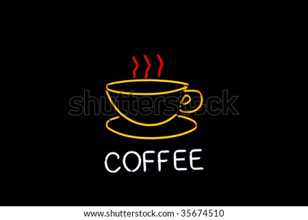neon coffee cup with steam in yellow - stock photo