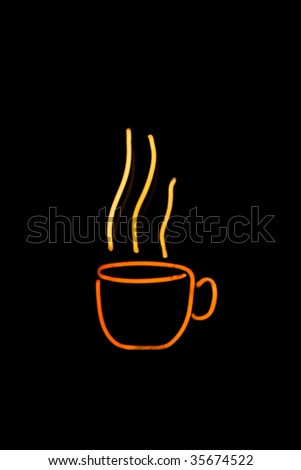neon coffee cup with steam in yellow and orange - stock photo