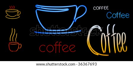 neon collection of coffee cups and signs all isolated on black - stock photo