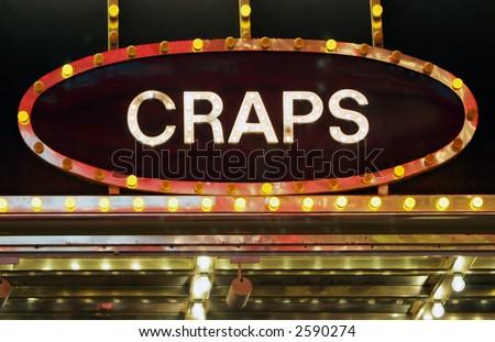 Neon craps sign - stock photo