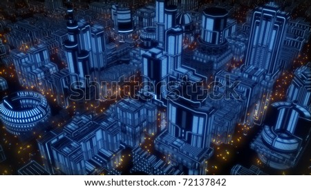 Neon cyberpunk city - stock photo