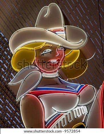 neon girl las vegas - stock photo