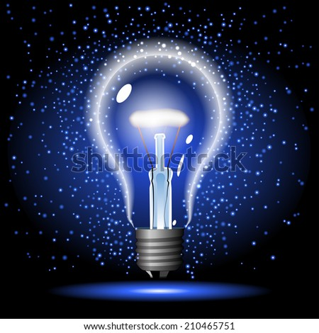 neon glowing lightbulb with sparkle - stock photo