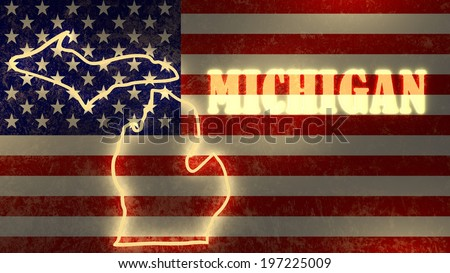 neon glowing outline map of the michigan state on usa national flag backdrop - stock photo
