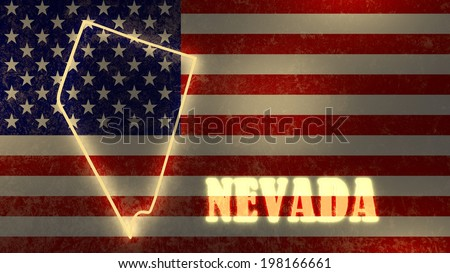 neon glowing outline map of the nevada state on usa national flag backdrop - stock photo