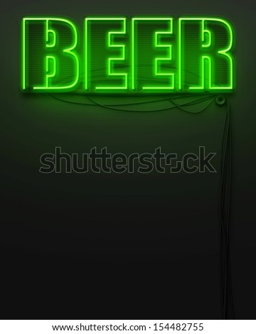 Neon glowing sign with word Beer and copyspace - stock photo
