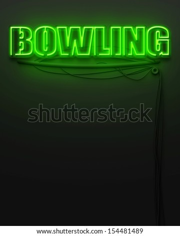 Neon glowing sign with word Bowling and copyspace - stock photo