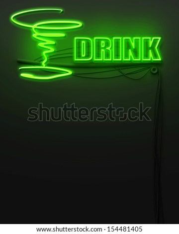 Neon glowing sign with word Drink and copyspace - stock photo