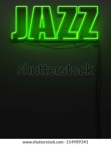 Neon glowing sign with word Jazz and copyspace - stock photo