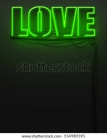 Neon glowing sign with word Love and copyspace - stock photo