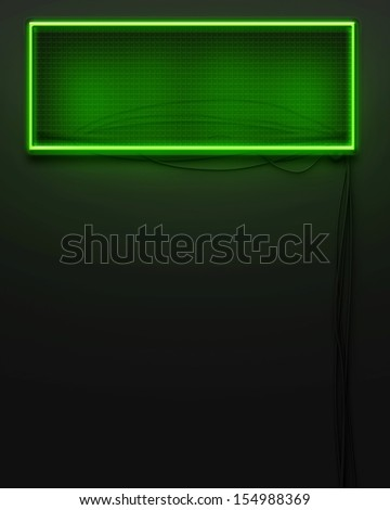 Neon glowing signboard empty frame with copyspace - stock photo