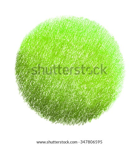 Neon green pastel crayon spot, isolated on white background.