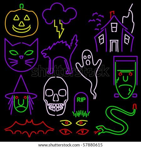 Neon Halloween icons - raster - stock photo