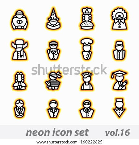 neon icon set - stock photo