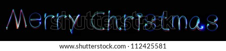 Neon inscription Merry Christmas - stock photo