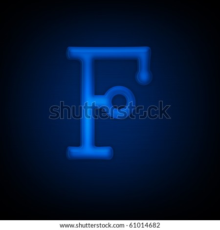 Neon Letter F Isolated on Black Background. Computer Design.