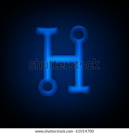 Neon Letter H Isolated on Black Background. Computer Design.