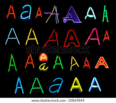Neon letters A collected from neon signs for over two years - stock photo