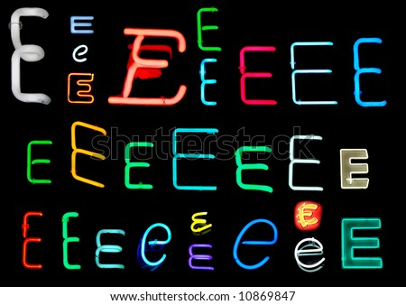 Neon letters E collected from neon signs for design elements - stock photo