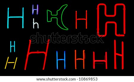 Neon letters H collected from neon signs for design elements - stock photo