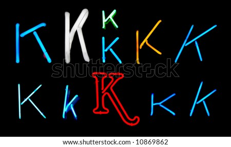 Neon letters K collected from neon signs for design elements - stock photo