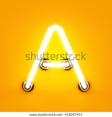 Neon light alphabet character A font. Neon tube letters glow effect on orange background. 3d rendering - stock photo