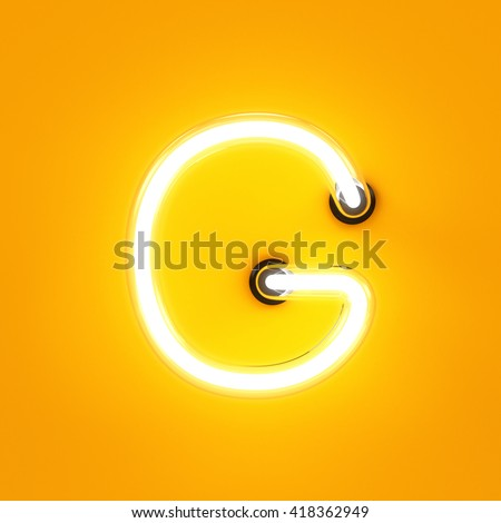 Neon light alphabet character G font. Neon tube letters glow effect on orange background. 3d rendering - stock photo