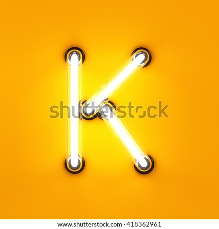 Neon light alphabet character K font. Neon tube letters glow effect on orange background. 3d rendering - stock photo