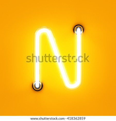 Neon light alphabet character N font. Neon tube letters glow effect on orange background. 3d rendering - stock photo