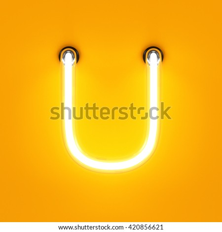 Neon light alphabet character U font. Neon tube letters glow effect on orange background. 3d rendering