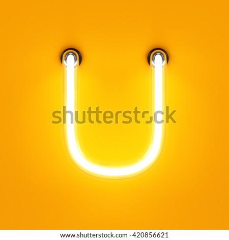 Neon light alphabet character U font. Neon tube letters glow effect on orange background. 3d rendering - stock photo
