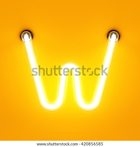 Neon light alphabet character W font. Neon tube letters glow effect on orange background. 3d rendering - stock photo